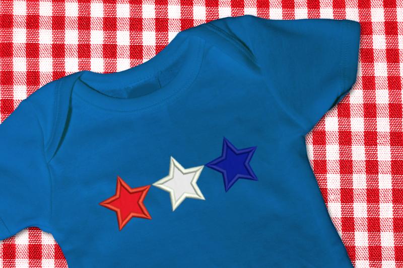 Star trio applique embroidery design