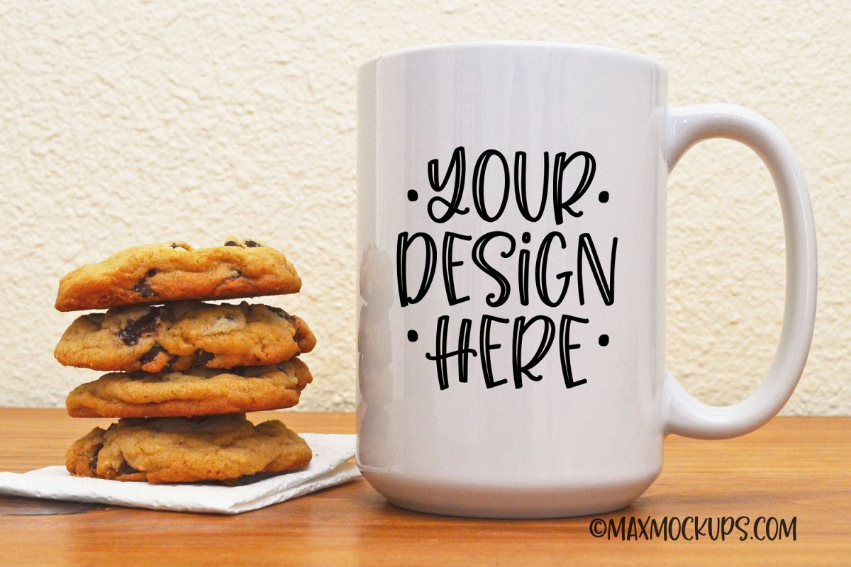 White mug mock up, 15 oz cup with cookies example image 1