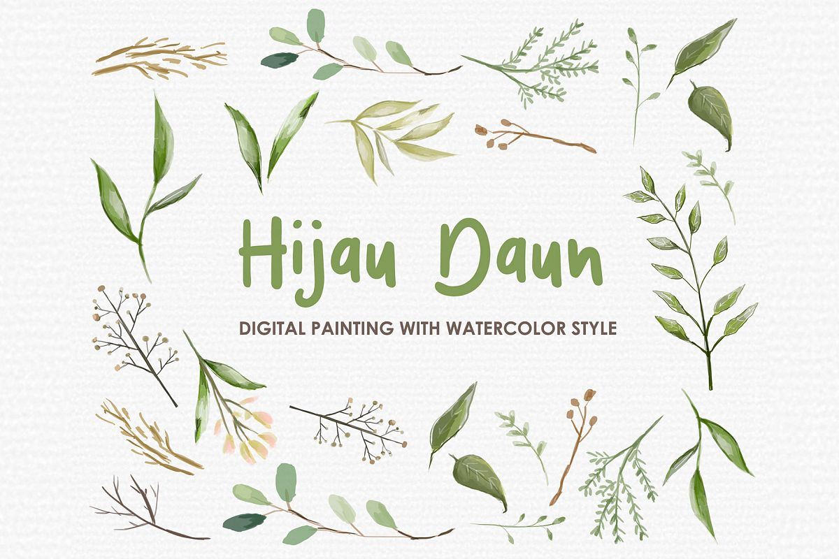 Hijau Daun - Digital Watercolor Floral Flower Style Clipart example image 1