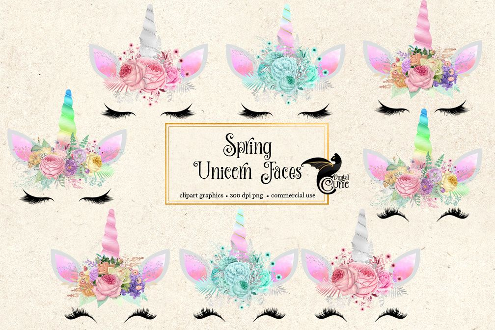 Spring Unicorn Face Clipart Example Image