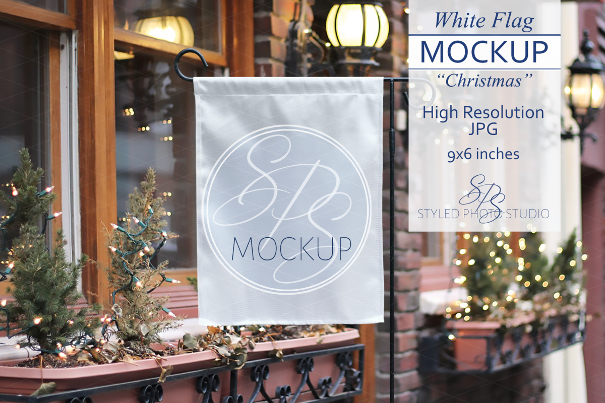 White Yard Flag Mockup for Christmas, A Rustic Shop Mock Up example image 1