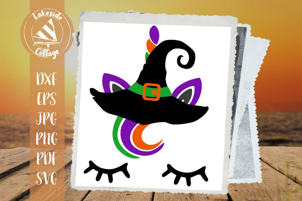 Unicorn Wearing Witch Hat Halloween SVG example image 1