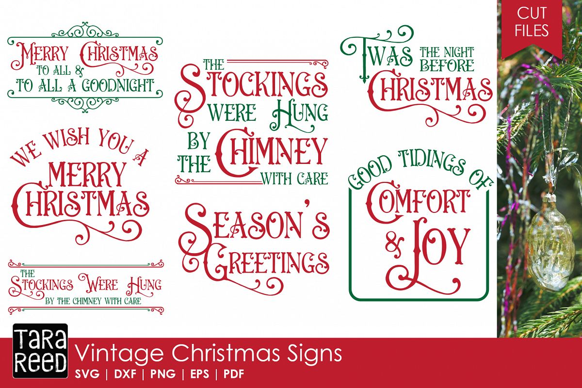 Vintage Christmas Signs - SVG & Cut Files for Crafters example image 1