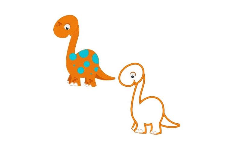 Dinosaur Machine Embroidery Design Set Applique and Filled example image 1