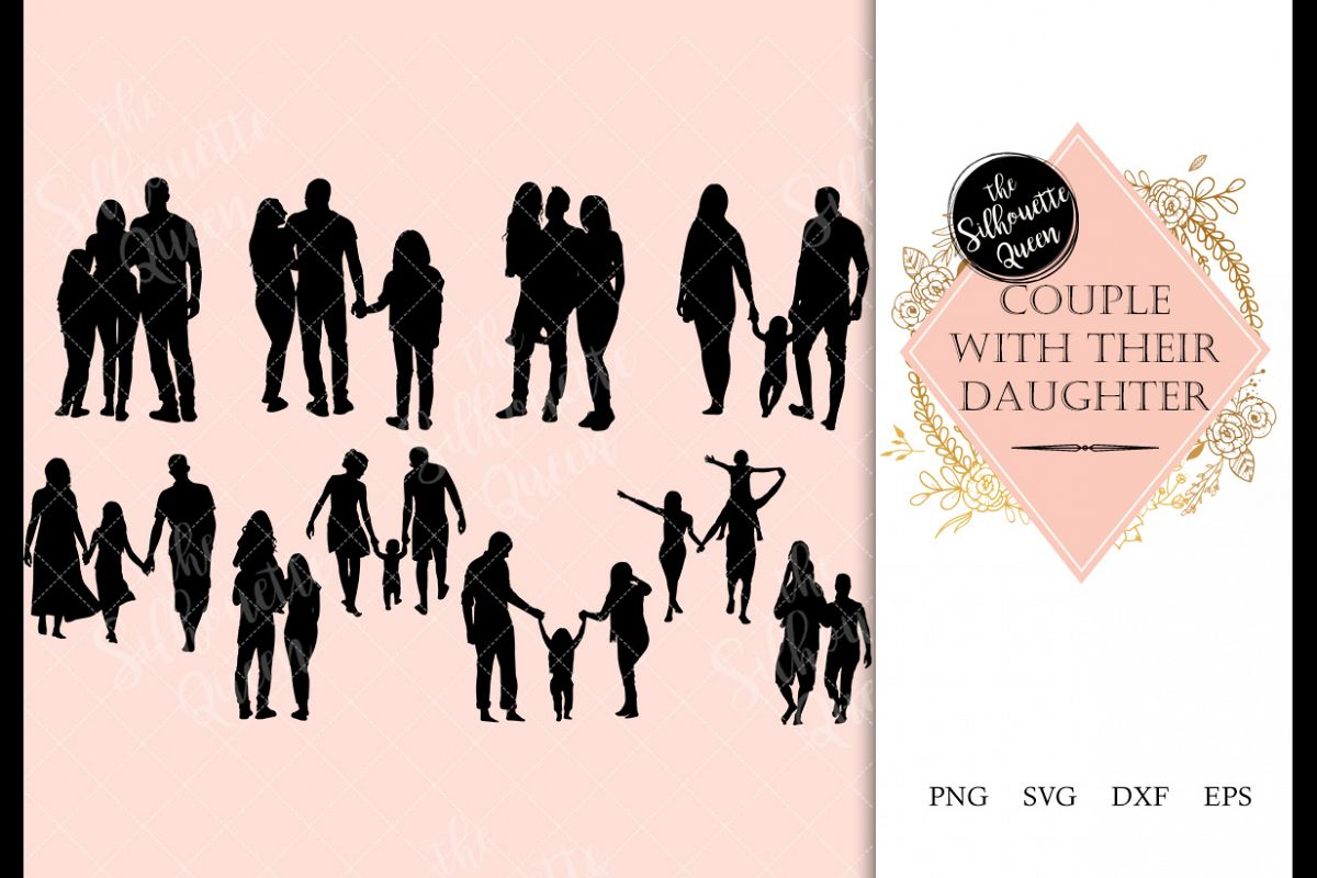 Couple with Daughter svg file, family svg cut file example image 1