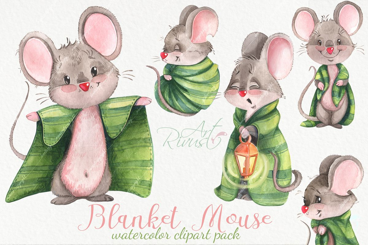 Cute watercolor mouse clipart pack example image 1
