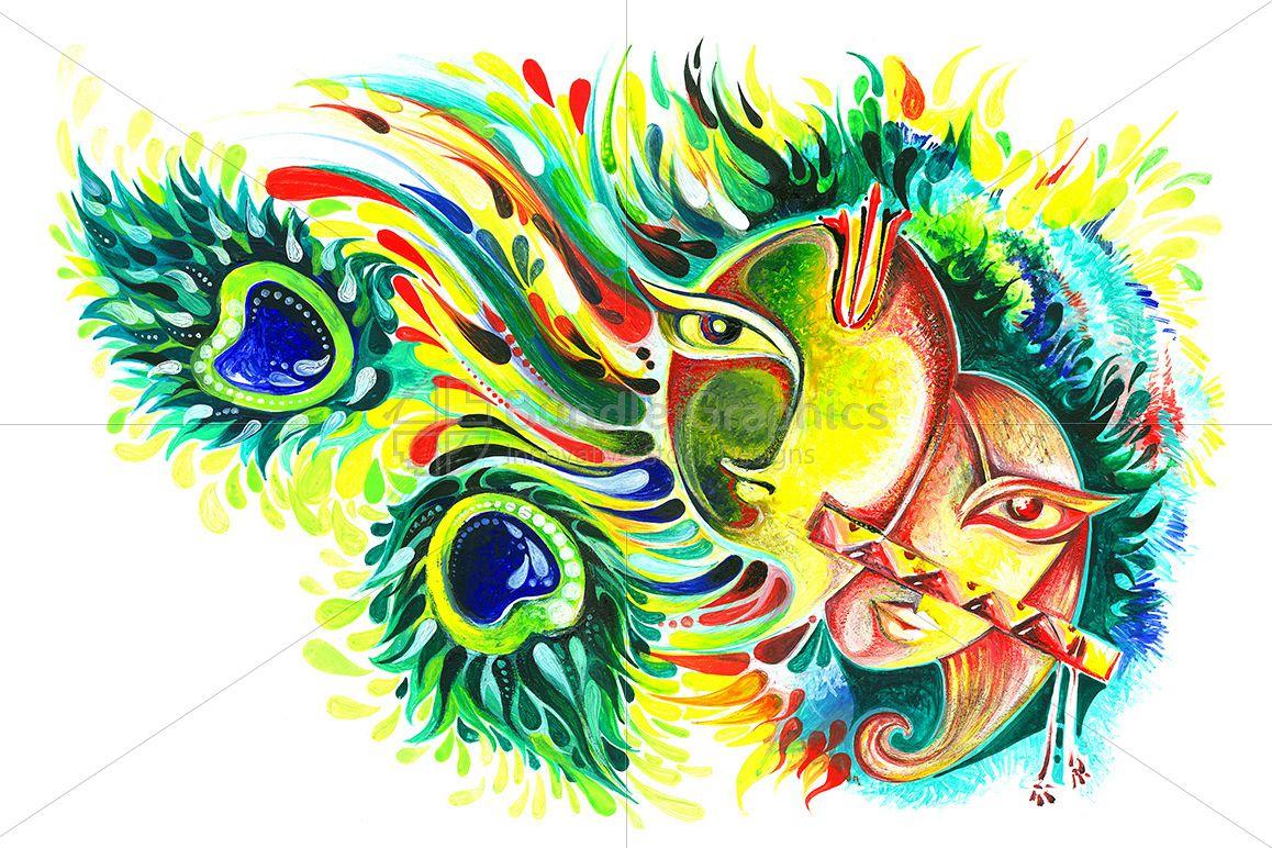Lord Krishna and Goddess Radha - Abstract Painting example image 1