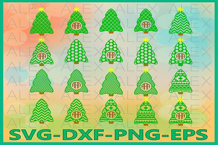Tree SVG, Tree Silhouette, Tree Monogram Frame svg example image 1