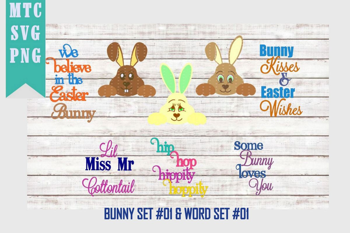 Peeping Easter Bunny Set #3 with Sayings Set #1 SVG Cut File example image 1