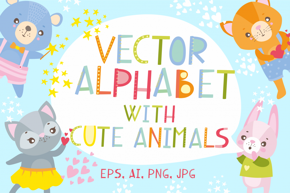 Vector alphabet and cute animals example image 1