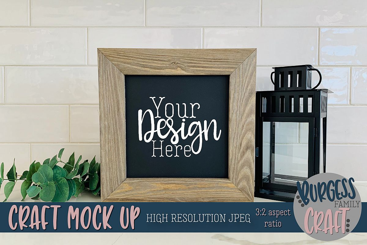 Rustic Chalkboard wood sign Craft mock up |High Res JPEG example image 1