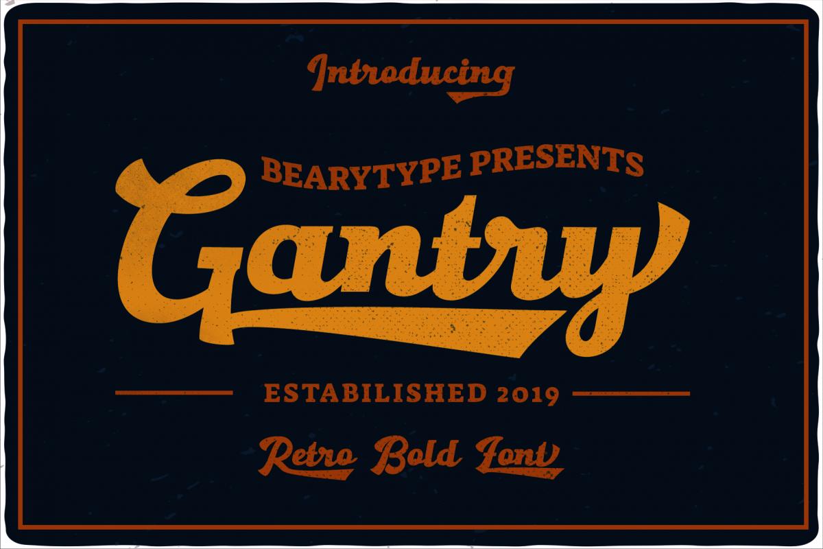 Gantry - retro bold script font example image 1