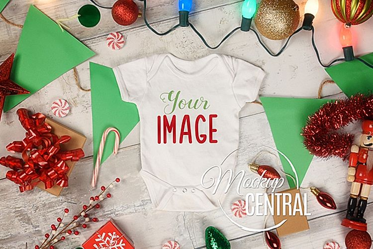 Baby White Onepiece Bodysuit Christmas Mockup Shirt example image 1