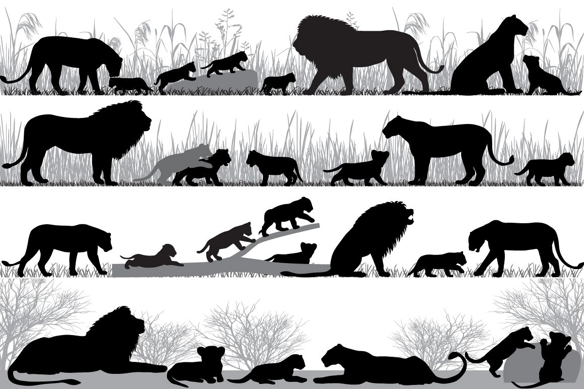 Lion's family silhouette example image 1