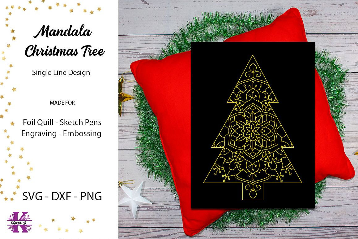 Mandala Christmas Tree for Foil Quill|Single Line Design example image 1