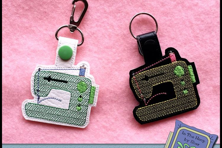 ITH Sewing Machine Vinyl Key Fob or Bag Tag - Snap Tab Machine Embroidery