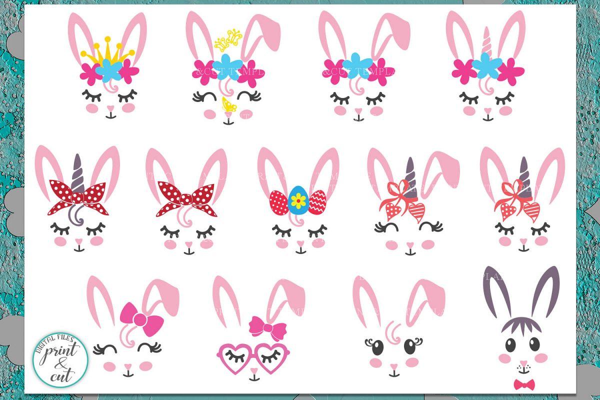 Bunny Rabbit faces Flowers Unicorn Horn Crown Bandana svg example image 1