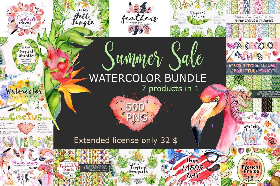 Summer Sale Watercolor Bundle 80OFF example image 1