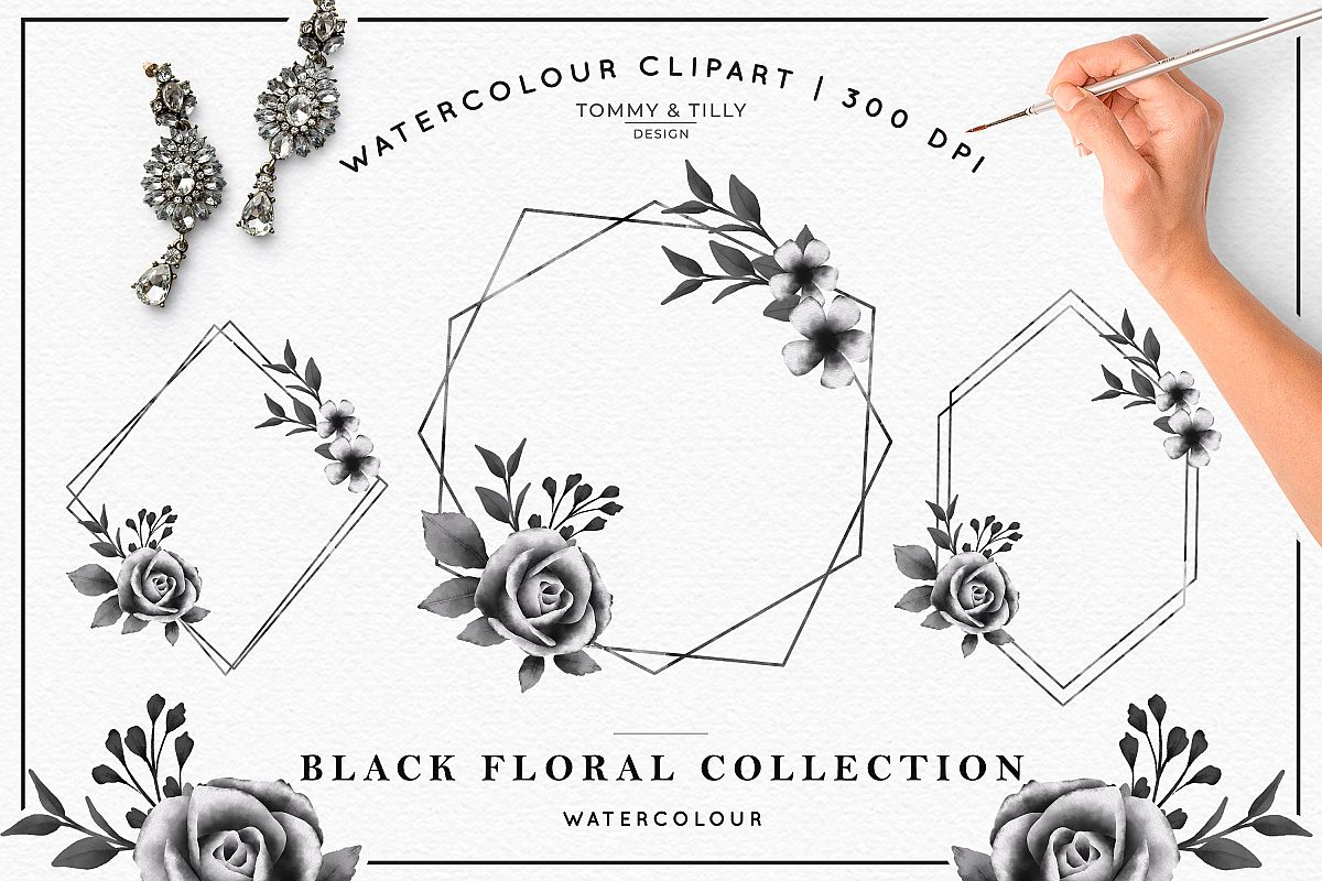 Watercolour Black Floral Collection - Wedding Clipart PNG example image 1