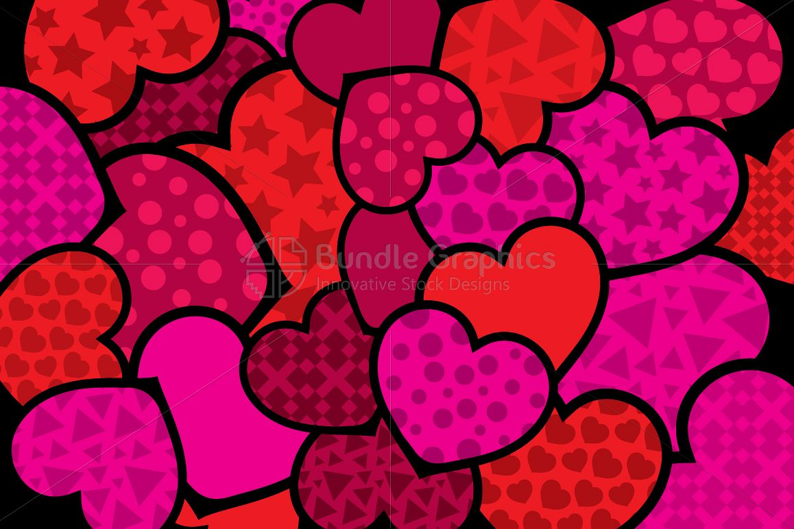Pink and Red Hearts Creative Monotone Vector Background  example image 1