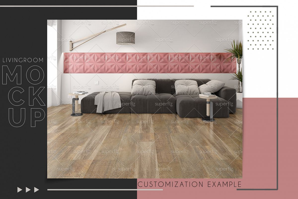 Floor and Wall PSD Mockup Livingroom SM87 example image 1