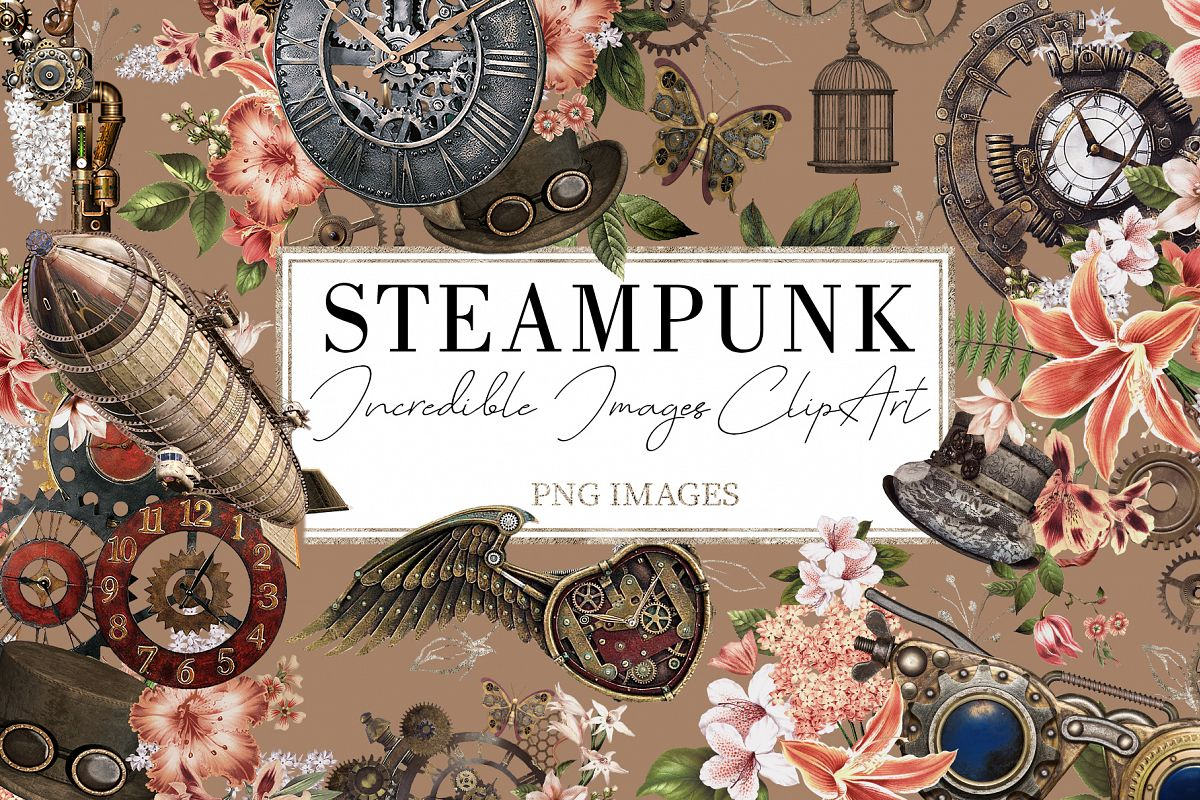 Steampunk |68 Elements in PNG example image 1