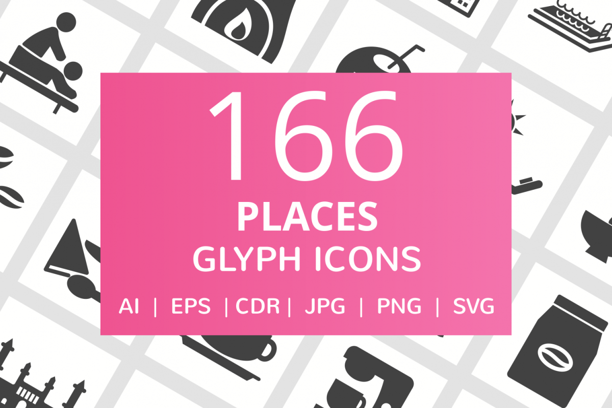 166 Places Glyph Icons example image 1