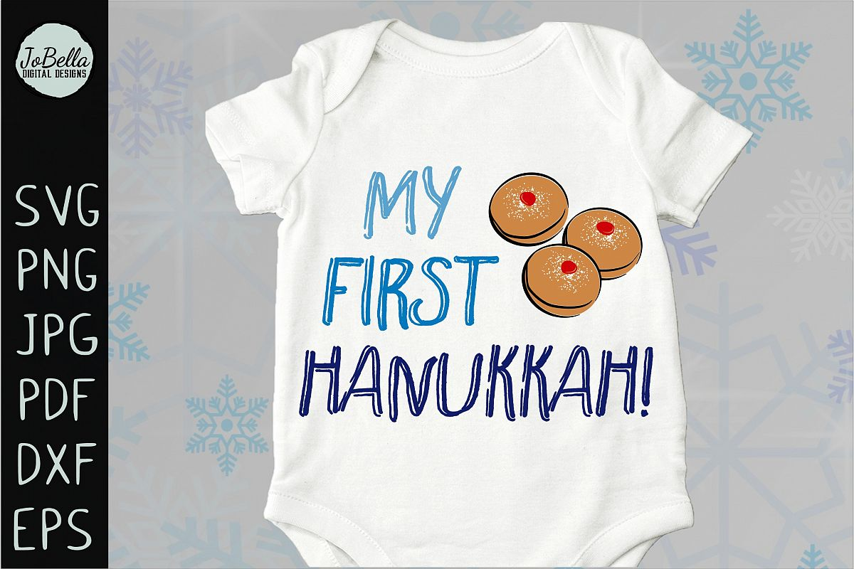 My First Hanukkah SVG, Printable and Sublimation PNG example image 1