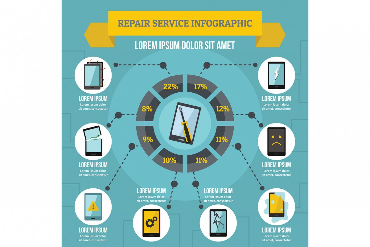 Repair service infographic concept, flat style example image 1