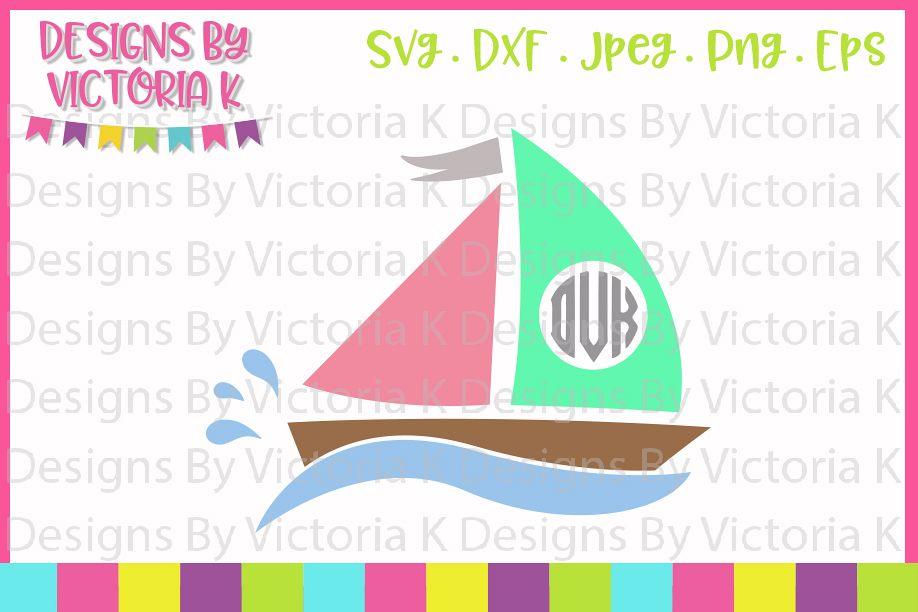 Boat Monogram, Boat, Lake, SVG, DXF, PNG example image 1