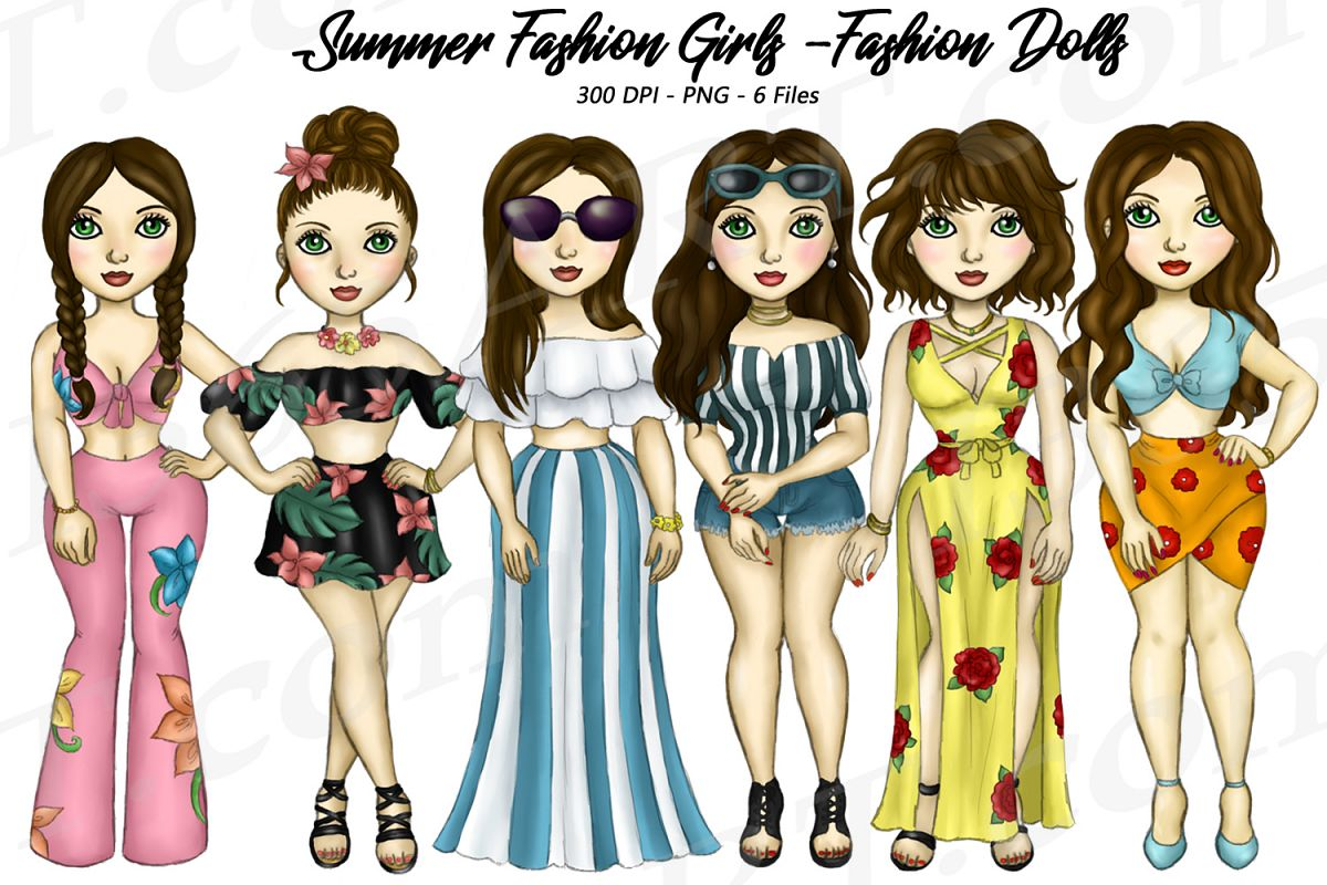 Summer Fashion Girls Planner Clipart, Fashion Girls PNG example image 1