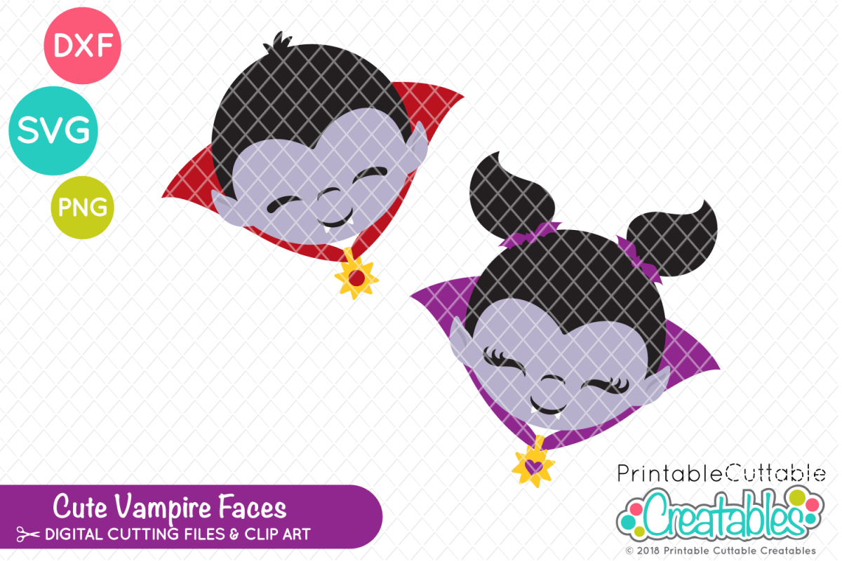 photograph relating to Printable Cuttable Creatables identified as Lovely Vampire Faces SVG