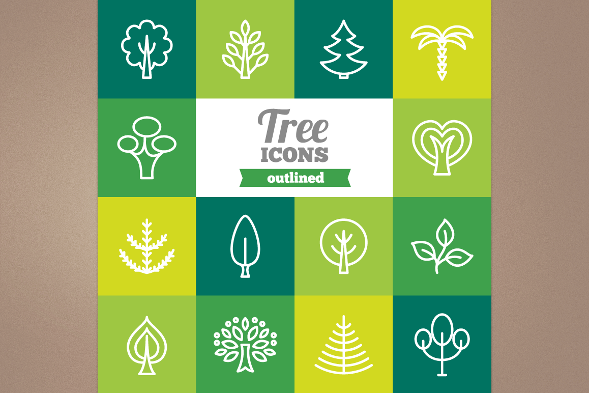 Outlined Tree Icons example image 1