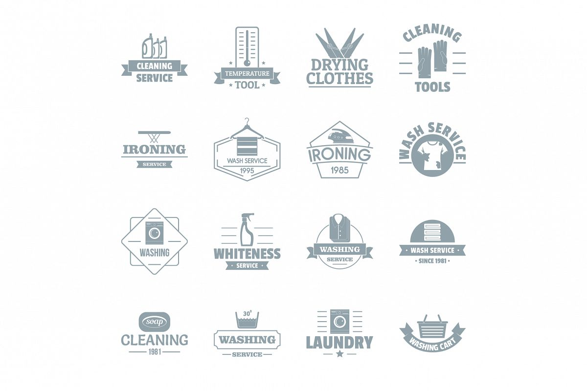 Laundry cleaning logo icons set, simple style example image 1
