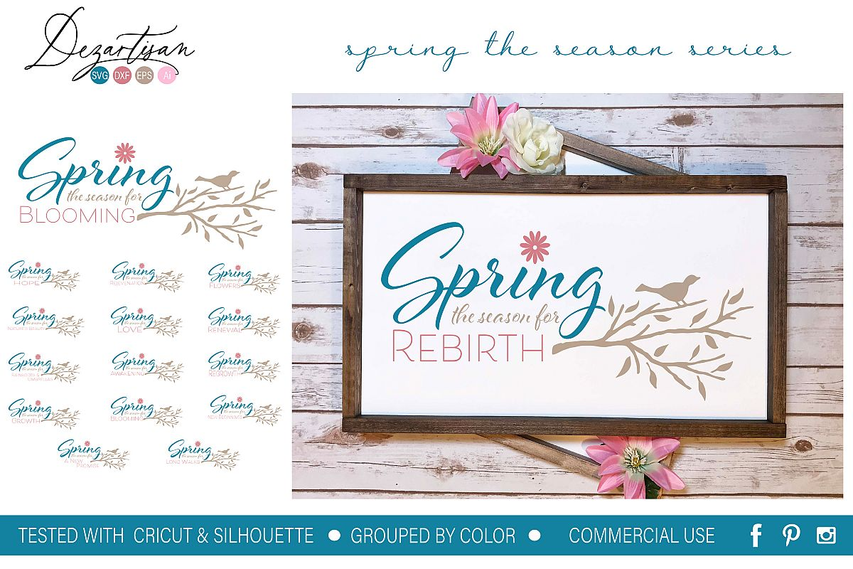 Spring the season for series of 15 quotes SVG DXF Design example image 1