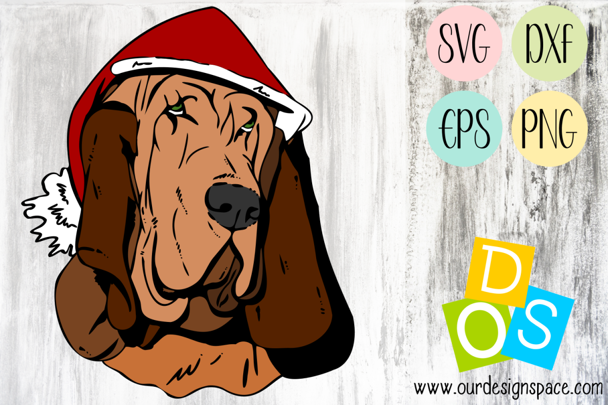 Basset Hound Christmas Dog SVG, DXF, EPS and PNG craft file example image 1