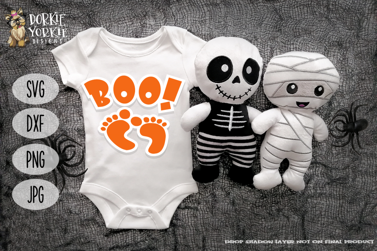 Boo! - Halloween words - Pregnancy, Baby Feet - SVG example image 1