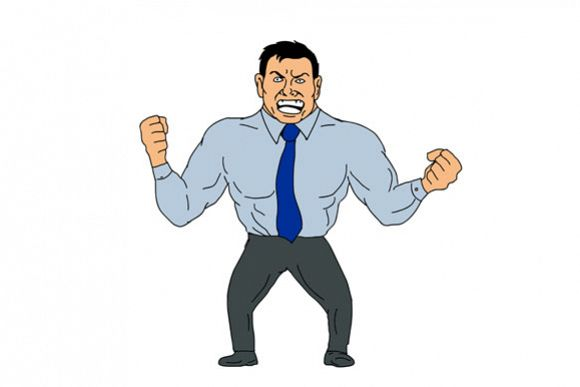 Angry Businessman Cartoon example image 1