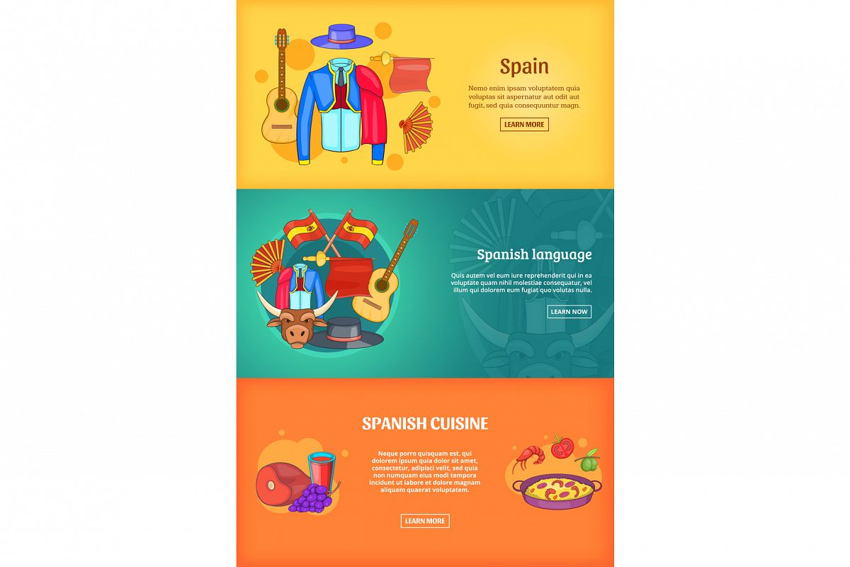 Spain banner set template, cartoon style example image 1