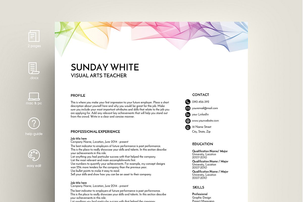 resume template  cv template  cv design  rainbow