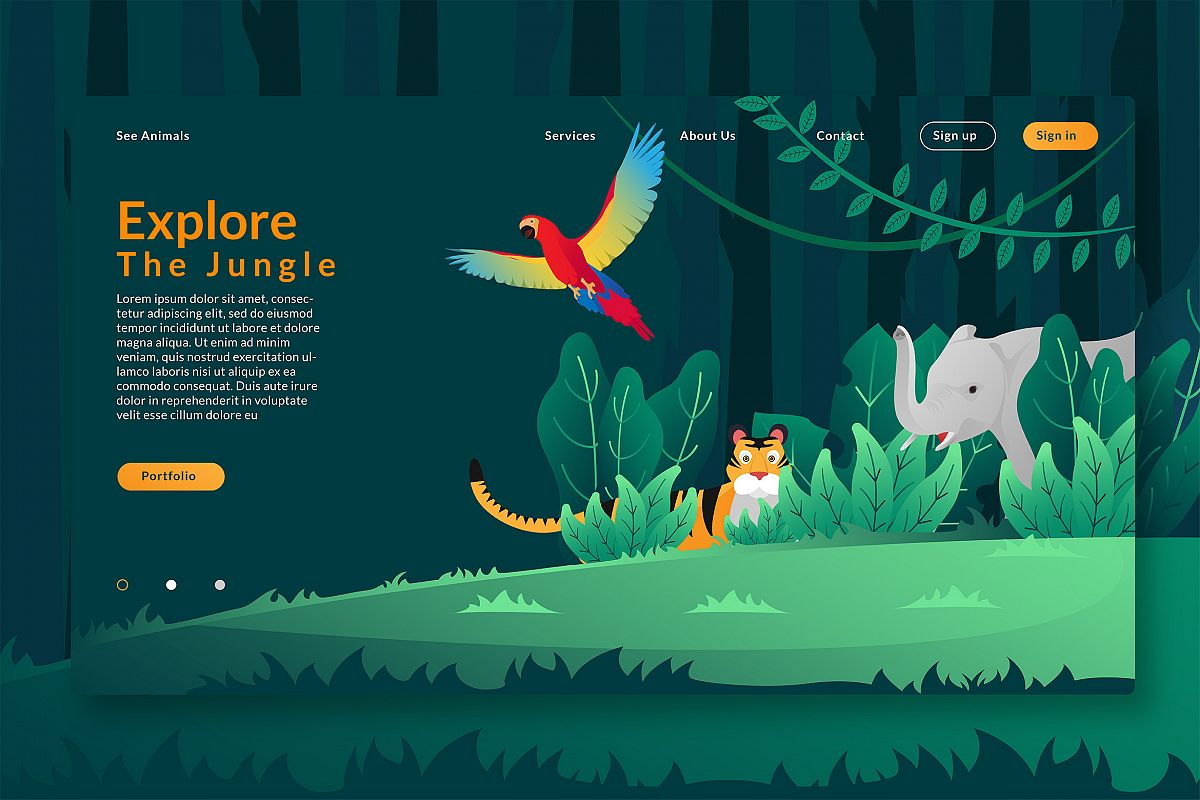Explore The Jungle - Web Header & Vector GR example image 1