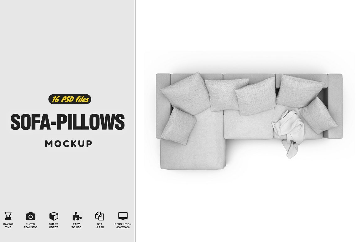 Sofa-Pillows Mockup example image 1