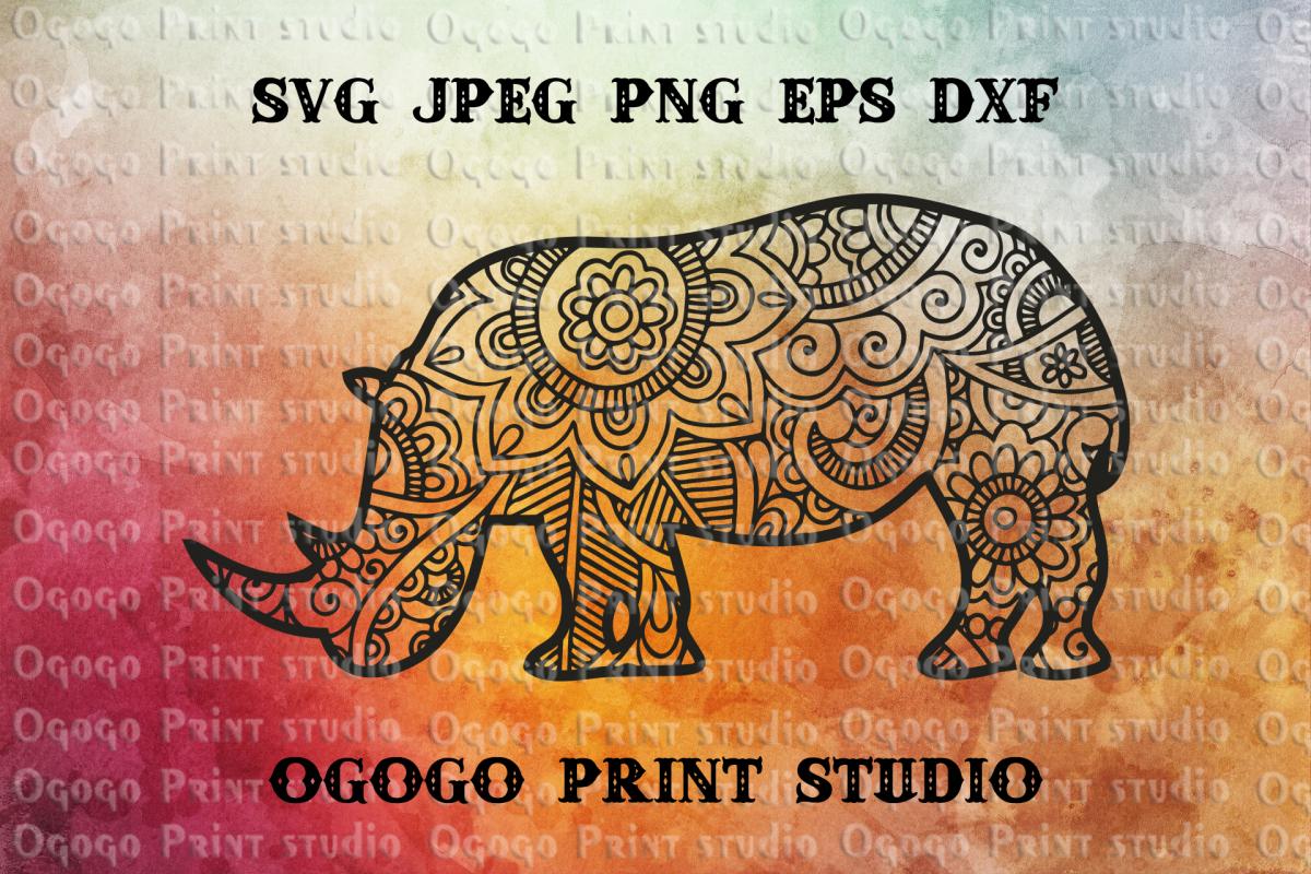 Rhino SVG, Zentangle SVG, Mandala svg, Rhinoceros SVG,Animal example image 1