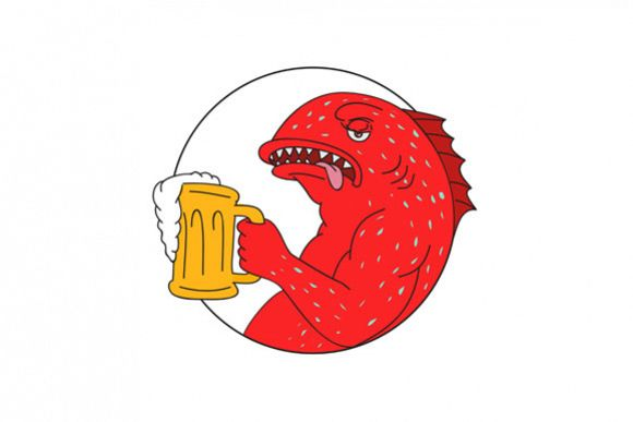 Coral Trout Beer Mug Circle Drawing example image 1