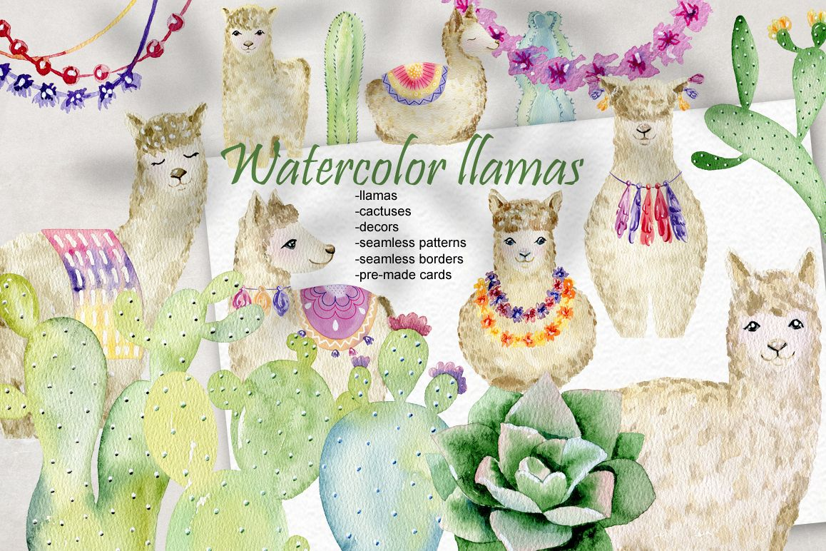 Watercolor llamas. Kit. example image 1