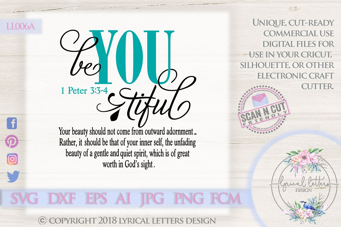 Be You Tiful Beautiful 1 Peter 3 Scripture SVG DXF LL006A example image 1
