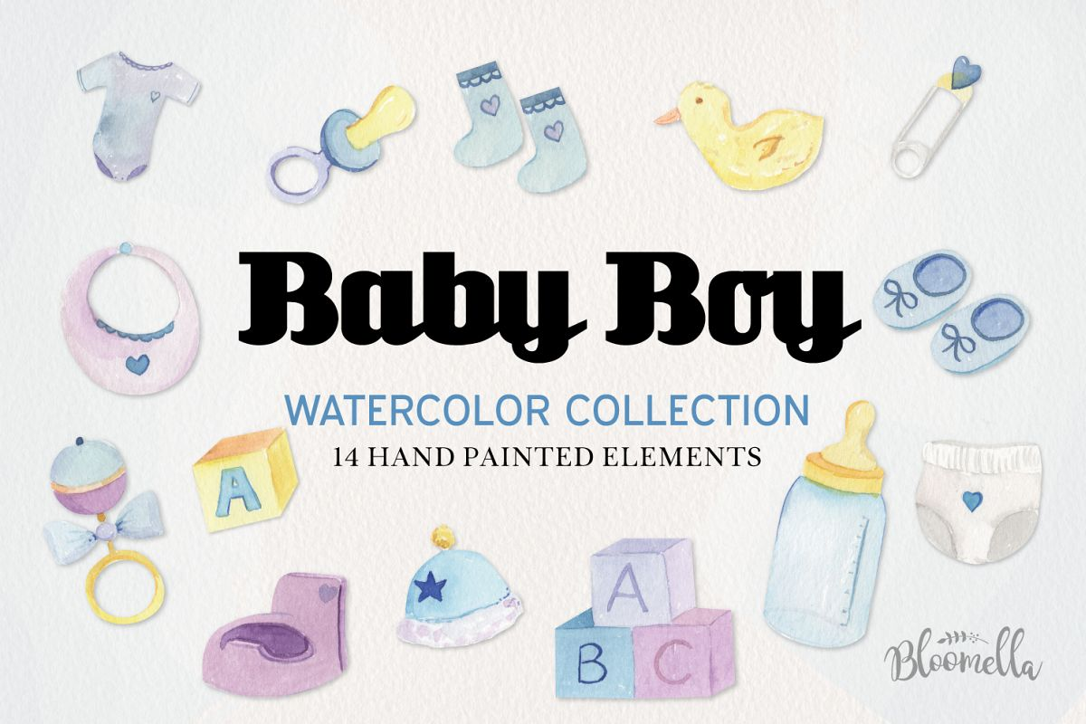 Baby Boy Watercolor Collection example image 1