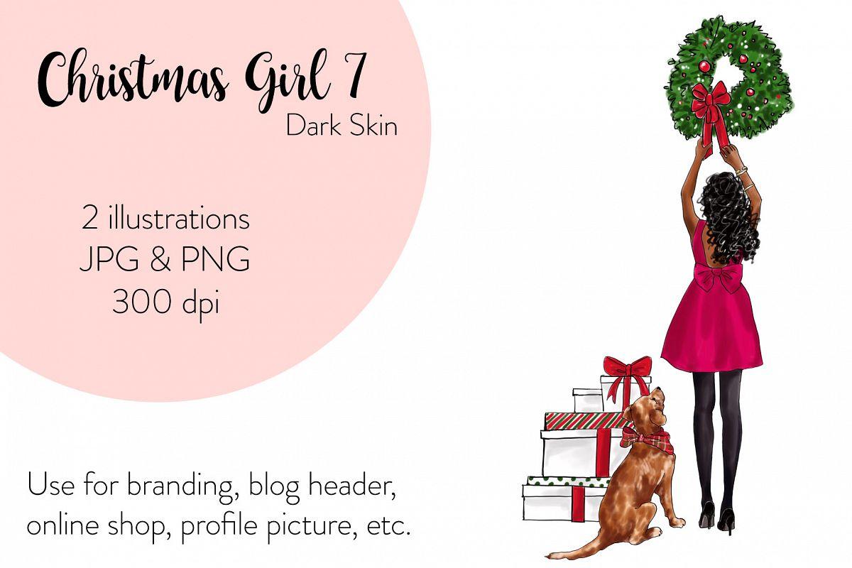 Fashion illustration - Christmas Girl 7 - Dark Skin example image 1