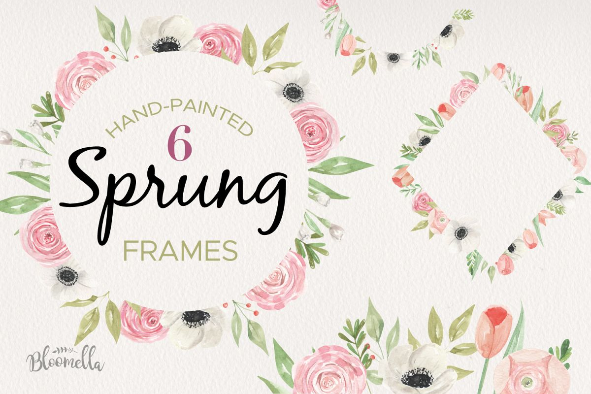 Sprung Watercolor 6 Frames Tulips Set Flowers Borders Pink example image 1