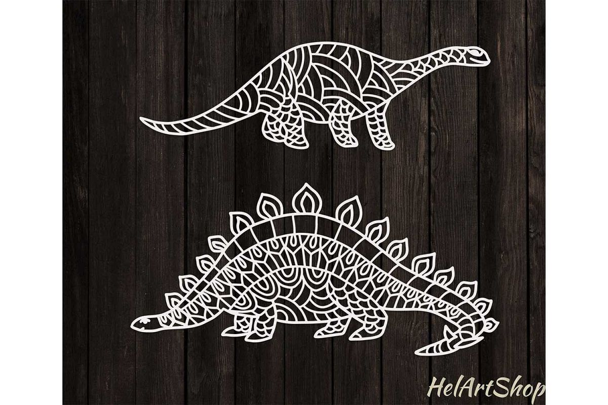 Set of Zentangle Dinosaurus. Svg design example image 1